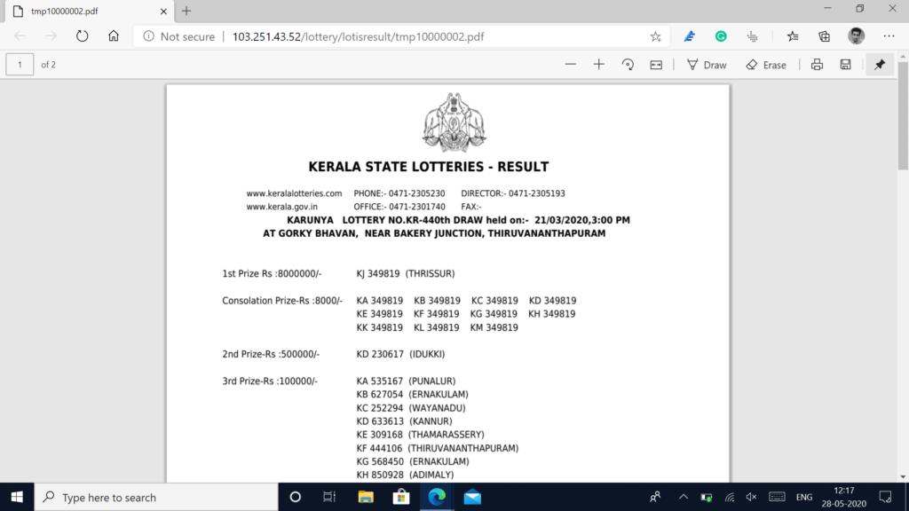 kerala lottery result pdf