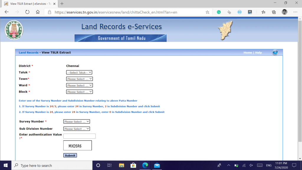 patta chitta online form